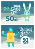 Final Christmas Sale Set on Vector Illustration. Final Christmas sale, set of placards with letterings and titles, images of rabbit and bear wearing yellow Royalty Free Stock Photo