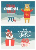 Final Christmas Sale 70 on Vector Illustration. Final Christmas sale 70 and up to 40 off, banners with titles and bear in red sweater with stretched paws, puppy Royalty Free Stock Image