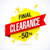 Final Clearance banner. Final Clearance bright banner. Special offer, big sale, up to 50% off Stock Images