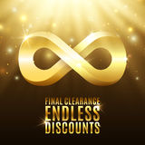 Final clearance, endless discounts. Background with light rays, stars and gold infinity symbol. Massive sale. Reductions. Vector illustration Royalty Free Stock Photos