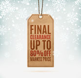 Final clearance price tag on winter background. With snow and snowflakes. Vector illustration Stock Image