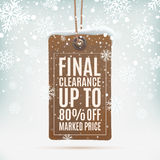 Final clearance. Realistic, vintage price tag. Final clearance. Realistic, vintage price tag on winter background wit snow and snowflakes. Vector illustration Stock Image