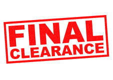 FINAL CLEARANCE. Red Rubber Stamp over a white background Royalty Free Stock Images