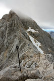 Final climb on Triglav Peak. With fixed ropes Stock Images
