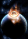 Final Collision. A meteor hitting a planet Royalty Free Stock Image