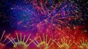 Final colorido de los fuegos artificiales almacen de metraje de vídeo