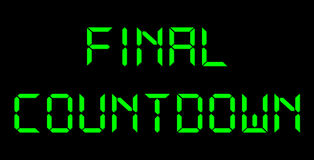 Final Countdown. Green digital letters on black Royalty Free Stock Photos