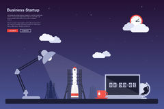 Final countdown. Picture of a space rocket ready to launch, flat style concept for business startup, new product or service launch themes Stock Photo