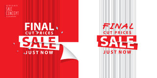 Final cut prices heading design for banner or poster. Sale and d. Iscounts. Vector illustration Stock Photos