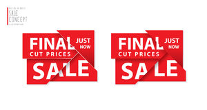 Final cut prices heading design for banner or poster. Sale and d Stock Photos