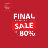 Final cut prices heading design for banner or poster. Sale and d. Iscounts. Vector illustration Stock Images