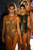 Final da pista de decolagem da caminhada dos modelos no fato da nadada do desenhista durante o desfile de moda do roupa de banho  Imagem de Stock