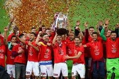 Final da Taça de Romania's: Dinamo Bucuresti contra CFR Cluj Imagem de Stock Royalty Free