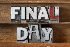 Final day tray Royalty Free Stock Photography