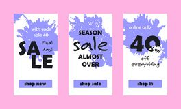 Final Day Sale Web Banners Set. Vector shop sales banners for website and mobile design, email, newsletter, ads and promotion. Web template super bright Royalty Free Stock Image