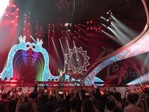 Final de Eurovision 2017 na fase do Exhib internacional Fotografia de Stock