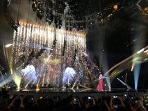 Final de Eurovision 2017 na fase do Exhib internacional Imagem de Stock