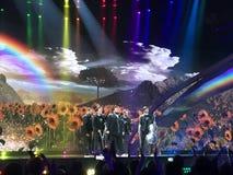 Final de Eurovision 2017 na fase do Exhib internacional Fotografia de Stock Royalty Free