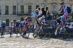 Final de Izumi Tour Series Bicycle Race de la perla en el baño Inglaterra Imagen de archivo libre de regalías