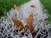 Final de la estación de fútbol Césped verde plástico del fútbol Fotografía de archivo