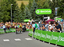 Final de la etapa 17 en el Chevalier de Serre, Tour de France 2017 Fotografía de archivo