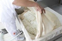 Final de la lechería de la lechería de la producción de queso Imagen de archivo libre de regalías