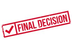 Final Decision rubber stamp. Grunge design with dust scratches. Effects can be easily removed for a clean, crisp look. Color is easily changed Stock Images