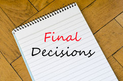 Final decisions text concept Royalty Free Stock Photography