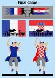 Final del campeonato 2018 del mundo entre Francia y Croacia Fotos de archivo