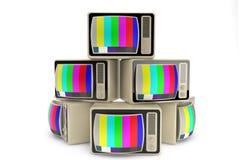 Final del concepto de la televisión. Montón del vintage TV Fotos de archivo libres de regalías