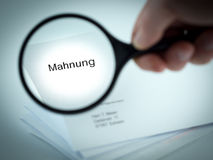 Final Demand. Cover letter with the word Mahnung in the letterhead Royalty Free Stock Photography