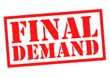 FINAL DEMAND. Red Rubber Stamp over a white background Stock Image