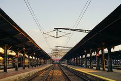 Final destination. train station Stock Image
