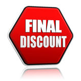 Final discount on red hexagon banner Royalty Free Stock Images