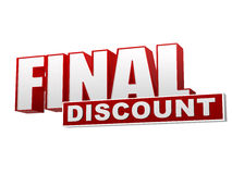 Final discount red white banner - letters and block Stock Photos