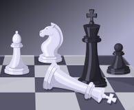 Final do jogo de xadrez Checkmate na placa de xadrez Conceito do negócio ilustração royalty free
