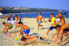 Final espectacular de la raza de la playa imagen de archivo libre de regalías