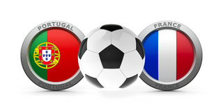 Final Euro 2016 - Portugal vs. France. Emblems - Flags of Portugal and France with football - isolated on white, represents final Euro 2016, three-dimensional Stock Photography