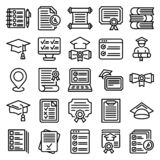 Final Exam Icons Set, Outline Style Royalty Free Stock Photography