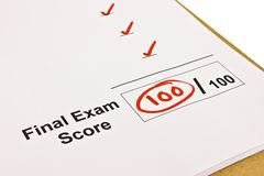 Final Exam Marked With 100% royalty free stock images