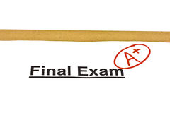 Final Exam Marked With A+ stock photography