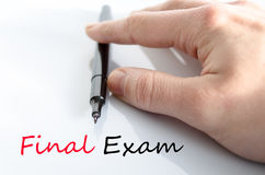 Final exam text concept. Isolated over white background stock photo