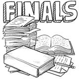 Final exams sketch. Doodle style final exams illustration in vector format. Includes title text, pile of papers, and books Royalty Free Stock Images