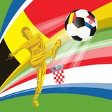 Final 2018 FIFA world cup. Football soccer ball with flags of countries playing in the final Belgium, Croatia Royalty Free Stock Photos
