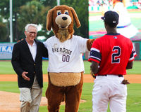 Final First pitch as Mayor. Royalty Free Stock Photo