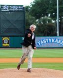 Final First pitch as Mayor. Stock Image