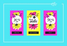 Final Flower Sale Web Banners Set. Vector final flower sales banners for website and mobile design, email, newsletter, ads and promotion. Web catch eye template Stock Photos