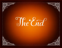 Final frame The End. Cinema vector background in vintage style and  brown coloring Stock Photography
