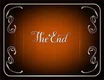 Final frame The End. Cinema vector background in vintage style and  brown coloring Royalty Free Stock Photo