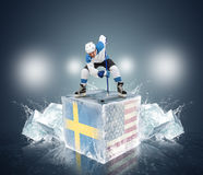 Final game Sweden vs USA. Hockey player on ice cube Royalty Free Stock Photography